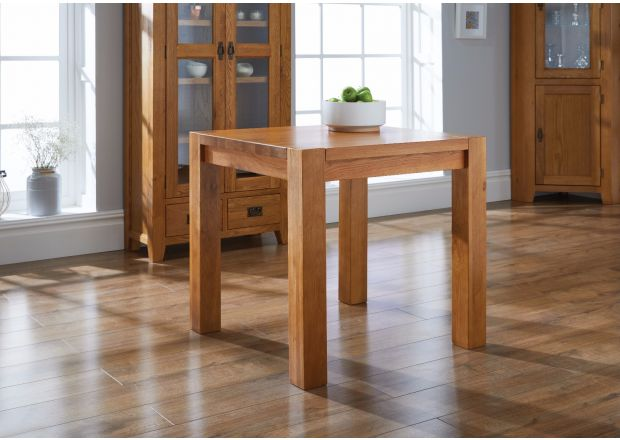 Country Oak 80cm Square Chunky Corner Leg Small Dining Table - BLACK FRIDAY DEAL