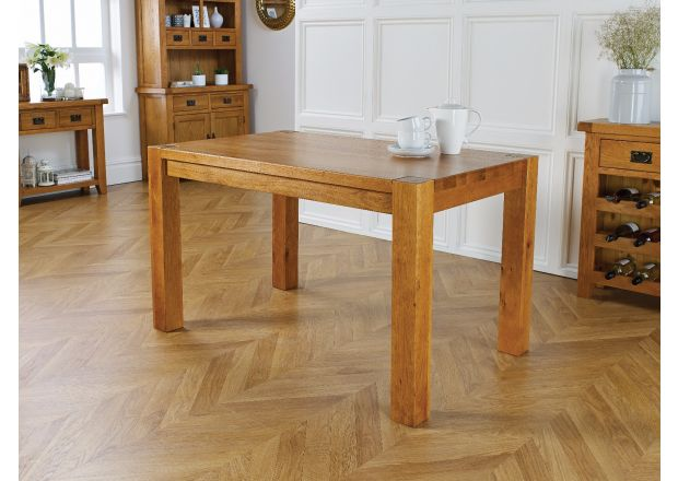 Solid Oak 130cm Chunky Corner Leg Country Oak Dining Table - WINTER SALE