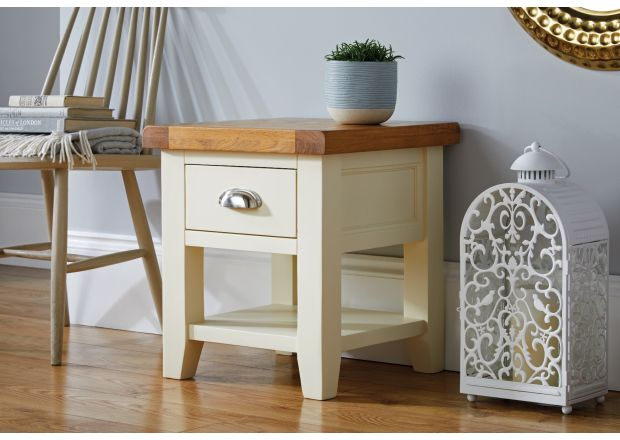 Country Cottage Cream Painted Oak Lamp Table With Drawer and Shelf