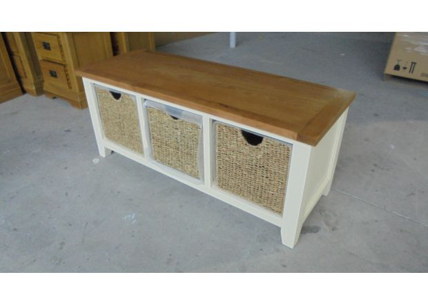 Country Cottage Cream Painted Oak Shoe Storage Bench with 3 Baskets