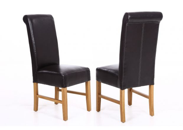 Emperor Dark Brown Leather Scroll Back Dining Chairs - WINTER SALE