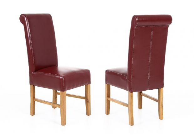 Scroll Back Emperor Red Leather Dining Chairs