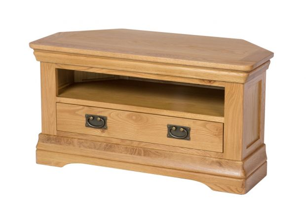Farmhouse Oak Corner TV Unit with Drawer