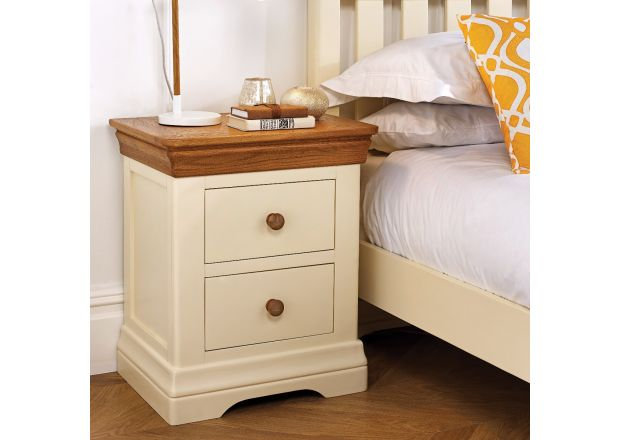 Farmhouse Country Oak Cream Painted Bedside Table