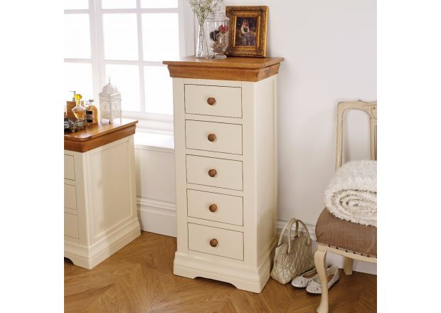 Farmhouse Country Oak Cream Painted 5 Drawer Tallboy Chest of Drawers