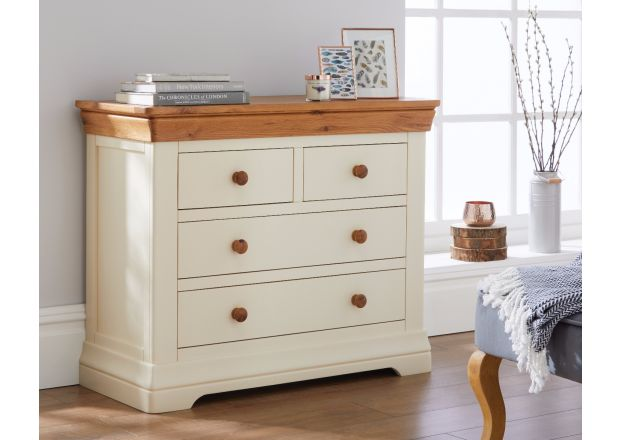 Farmhouse Country Oak Cream Painted 2 Over 2 Chest of Drawers