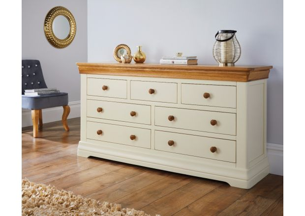 Farmhouse Country Oak Cream Painted 3 Over 4 Chest of Drawers