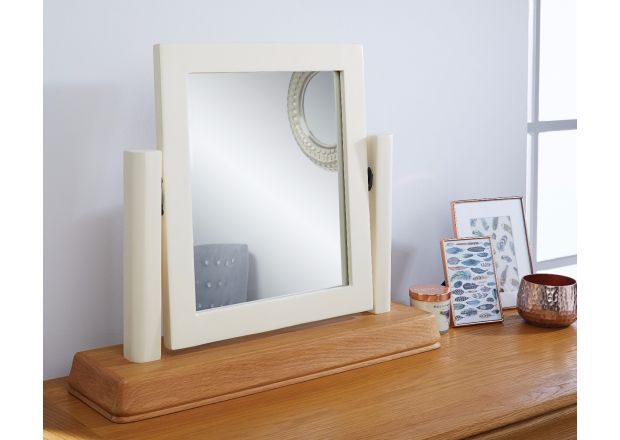 Farmhouse Country Oak Cream Painted Dressing Table Mirror - SPRING SALE