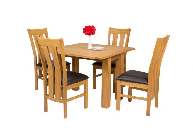 Lichfield Flip Top 100cm 50cm Oak Table 4 Churchill Brown Leather Oak Chair Set