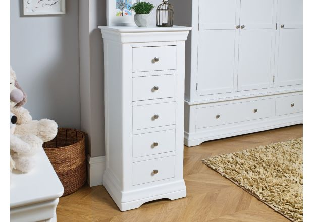Toulouse White Painted 5 Drawer Wellington Tallboy Chest