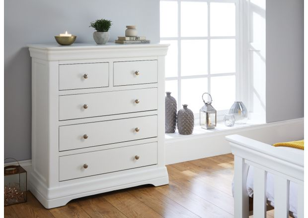 Toulouse White Painted 2 Over 3 Chest of Drawers