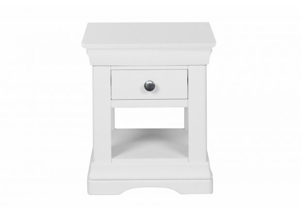 Farmhouse White Painted 1 Drawer Bedside Table
