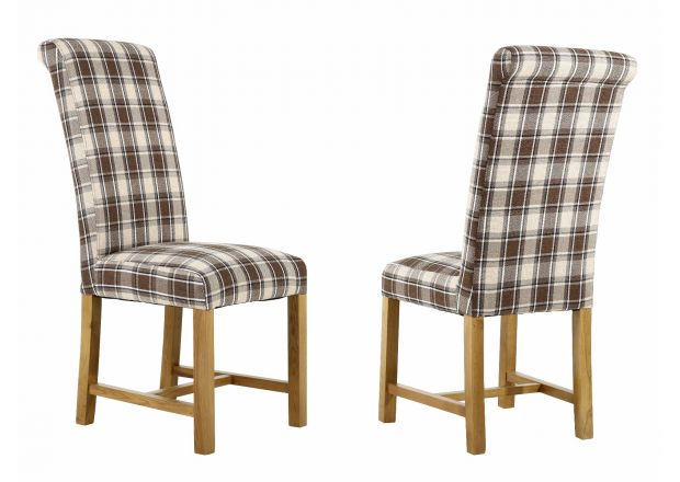 Harrogate Check Brown Herringbone Fabric Dining Chair with Oak Legs