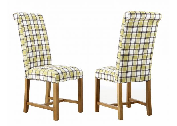 Harrogate Check Green Herringbone Fabric Dining Chair with Oak Legs