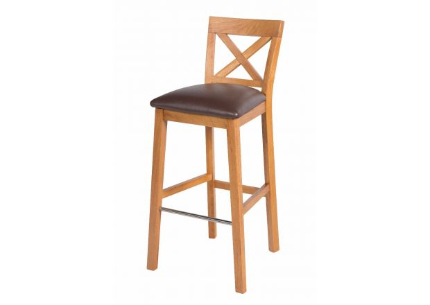 Java Cross Tall Oak Kitchen Bar Stool - Brown Leather Pad