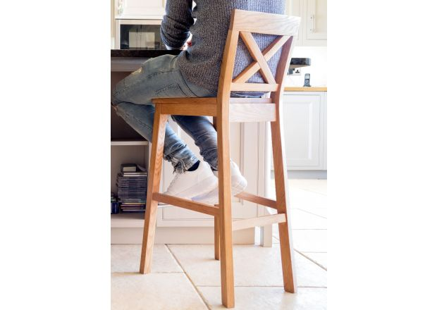 Java Cross Tall Oak Bar Stool - Solid Oak Seat
