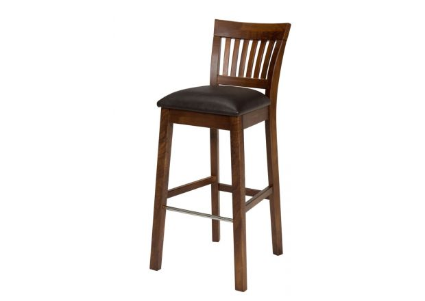Java Dark American Walnut Kitchen Stool - Brown Leather