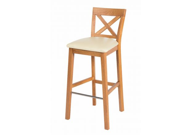 Java Cross Oak Kitchen Stool - Cream Leather