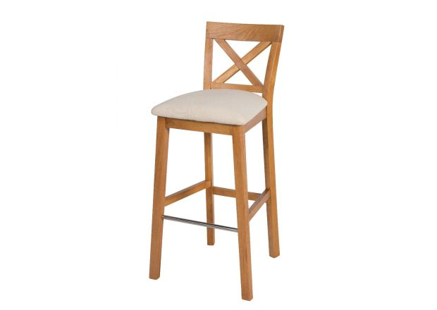 Java Cross Oak Bar Stool with Beige Linen Seat Pad