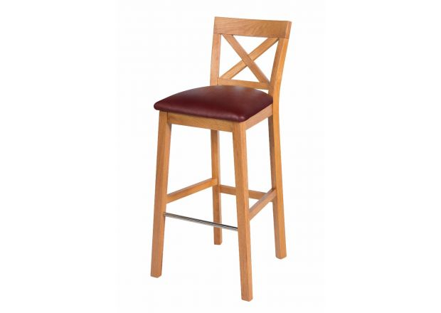 Java Cross Tall Oak Kitchen Bar Stool with Red Leather Pad