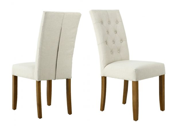 Kensington Beige Fabric Dining Chair with Oak Legs