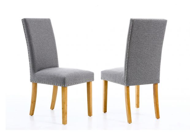 Mayfair Silver Grey Fabric Studded Dining Chair - WINTER SALE