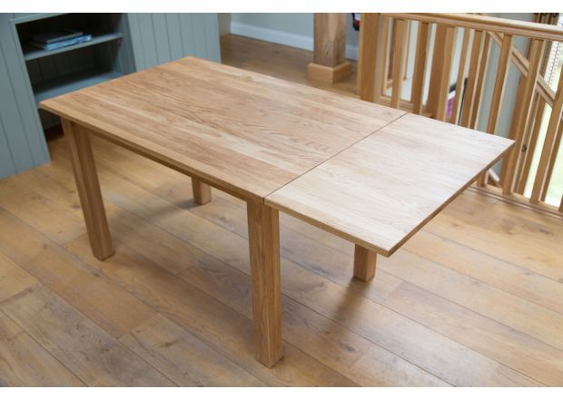 Minsk 6 Seater Solid Oak Extending Dining Table 120cm to 160cm