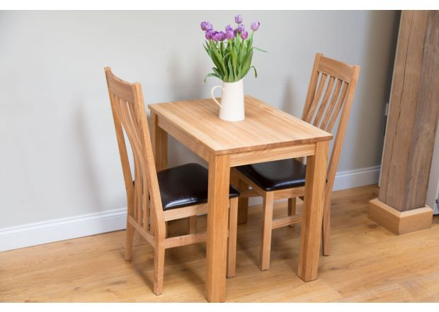 Minsk 60cm Kitchen Table and 2 Winchester Oak Black Leather Chairs - WINTER SALE