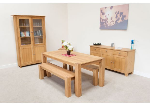 Cambridge 180cm Oak Table & 2 x 150cm Cambridge Benches