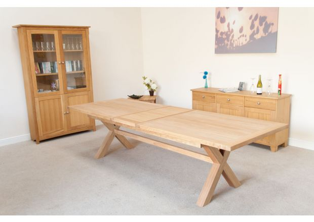 Provence 2.9m Extending Cross Leg EU Made Oak Table - SPRING SALE