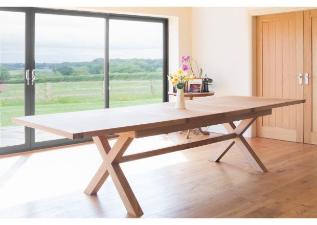 Provence 3.4m Large Double Extending EU Made X Leg Dining Table - WINTER SALE