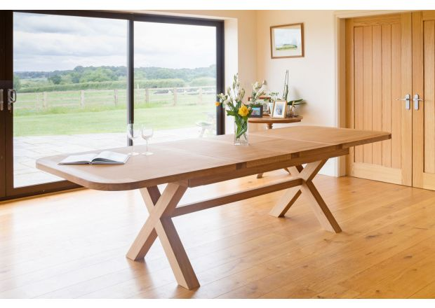 Provence 2.8m Large Double Extending Cross Leg Dining Table Oval End