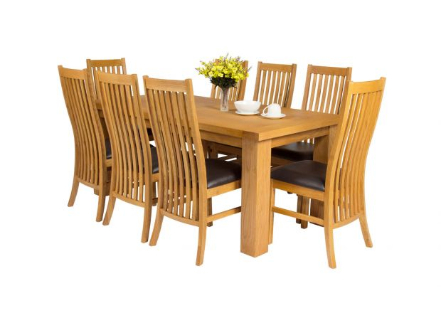 Riga 180cm Oak Table 8 Lichfield Brown Leather Oak Chair Set