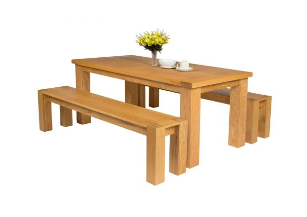 Riga 180cm Oak Table 2 Cambridge 180cm Bench Set