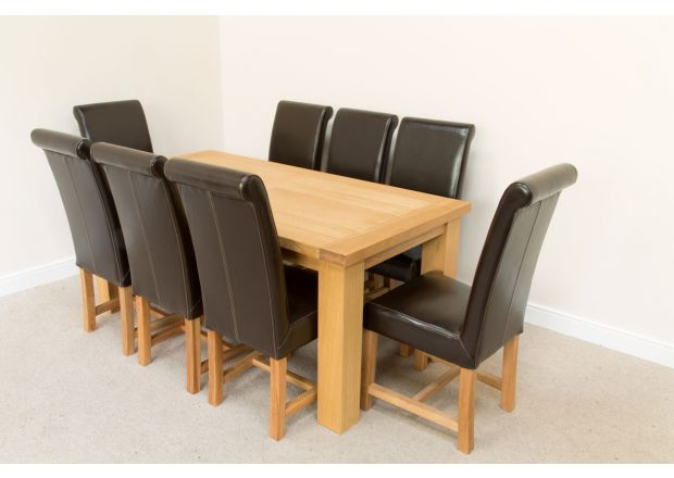Riga 1.8m Oak Table 8 Titan Brown Leather Dining Chairs Set