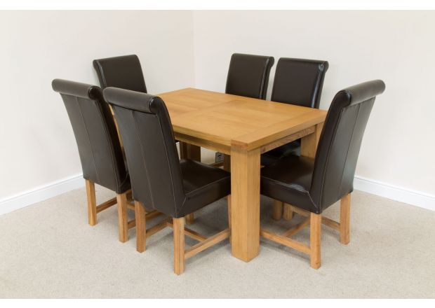 Riga 1.4m Oak Table 6 Titan Brown Leather Chairs Set