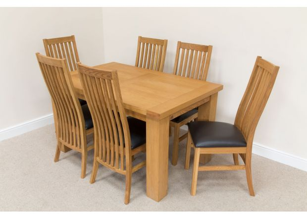 Riga 1.4m Oak Table Set 6 Lichfield Brown Leather Dining Chairs Set