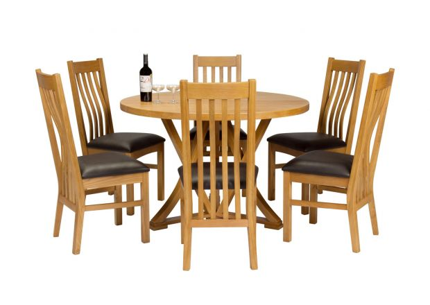 Country Oak 120cm Round Dining Table 6 Chelsea Brown Leather Oak Chair Set