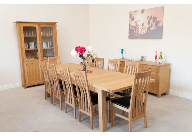 Tallinn 2.9m Oak Table and 10 Winchester Brown Leather Chairs Set