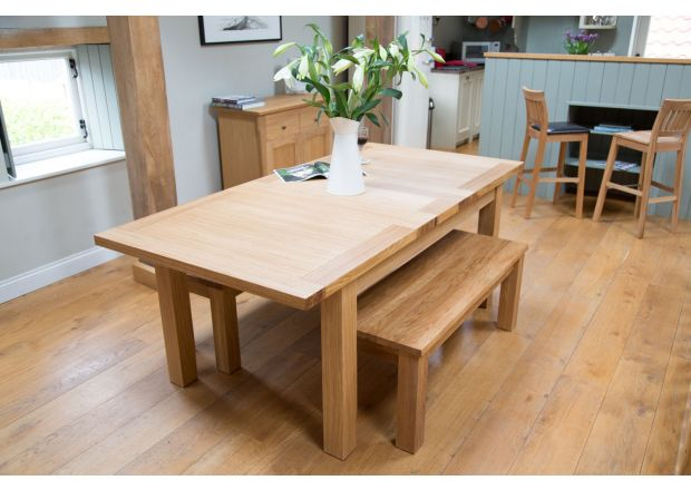 Tallinn 2 Metre Oak Table Pair 120cm Baltic Solid Oak Top Benches Set
