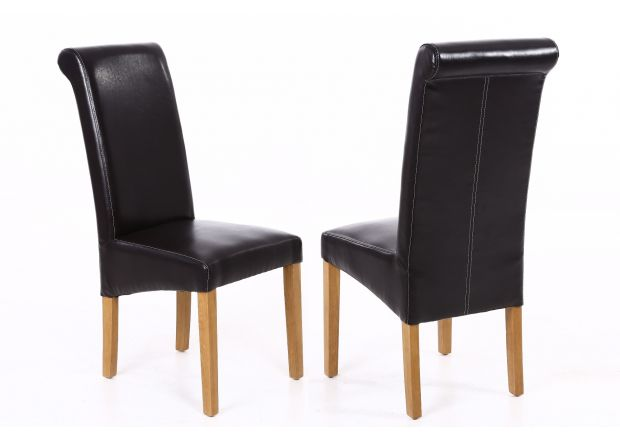 Tuscan Dark Brown Leather Scroll Back Dining Chair Oak Legs - WINTER SALE