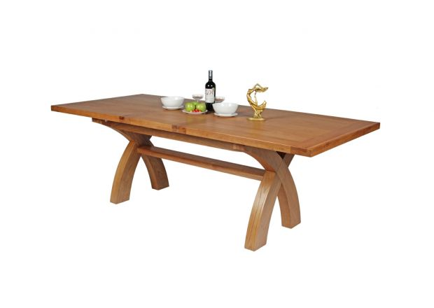 180cm to 230cm Country Oak Cross Leg Extending Table - SPRING SALE