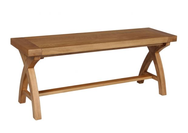 Country Oak 1.2m Solid Oak Dining Bench - Cross Leg