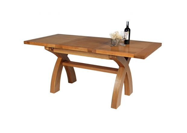 Country Oak 1.3 - 1.8m Cross Leg Oak Dining Table - WINTER SALE