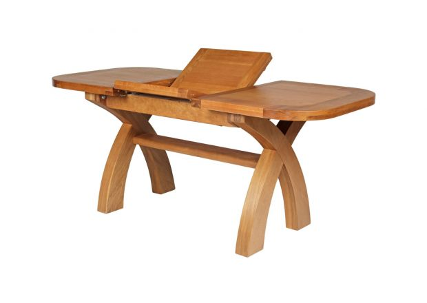 130cm to 180cm Country Oak X Leg Butterfly Extending Table Oval Corners - SPRING SALE