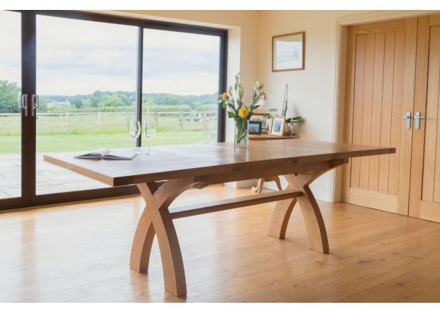 Country Oak 2.8m X Leg Double Extending Large Dining Table Square Ends - PRICE CRUNCHED