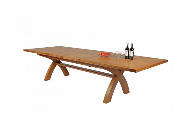 Country Oak 3.4m Cross Leg Double Extending Large Dining Table Square Ends