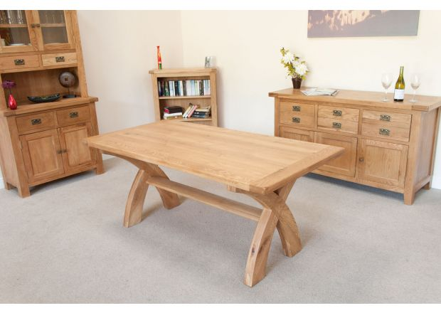 Country Oak 180cm Cross Leg Dining Table - SPRING SALE