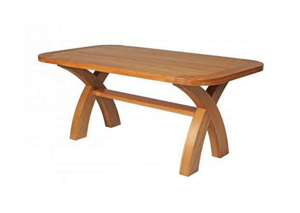 180cm Country Oak Cross Leg Fixed Dining Table Oval End To Seat 8