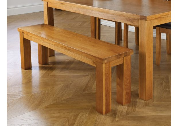 Beau Country Oak 1.2m Chunky Solid Oak Indoor Bench